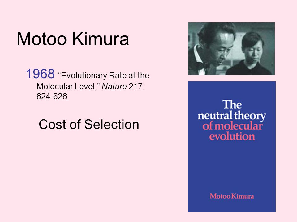Motoo Kimura 1968 Evolutionary Rate at the Molecular Level, Nature 217: 624-626.