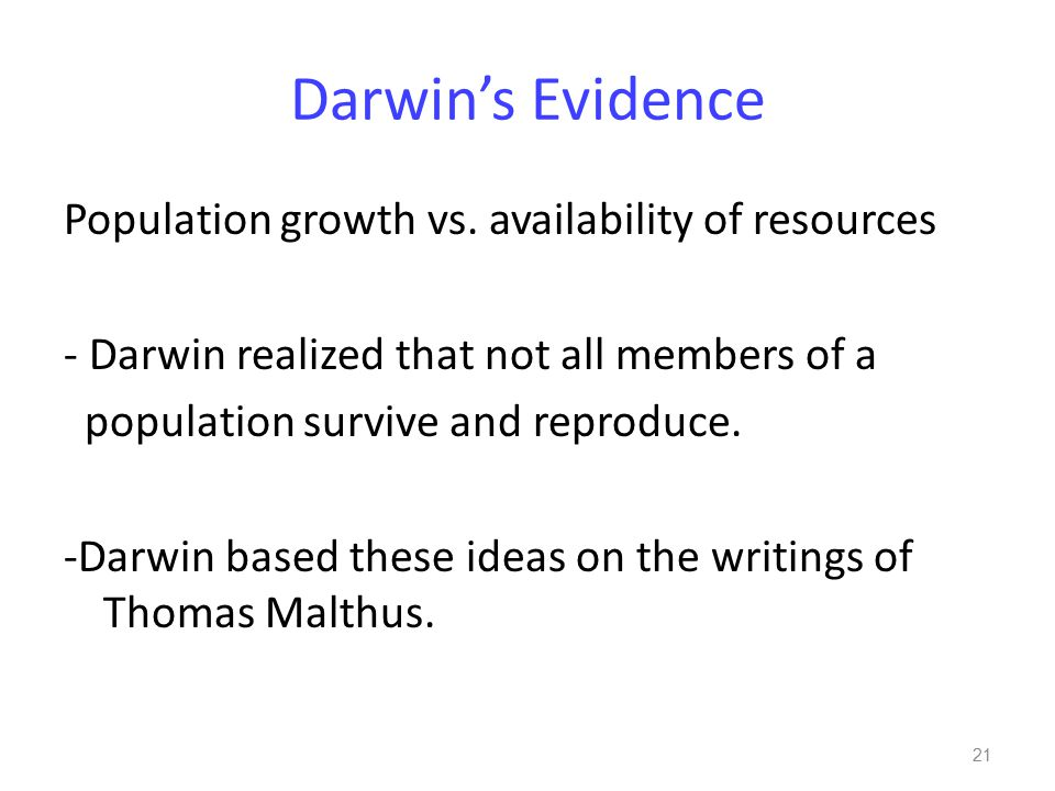 Darwin's Evidence Population growth vs.