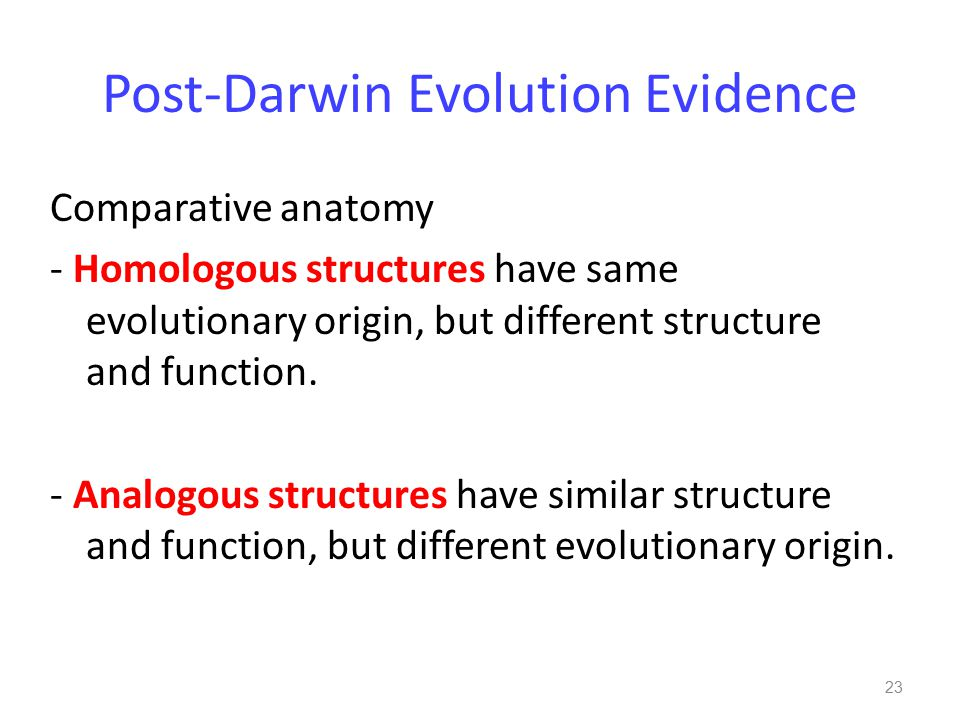 Post-Darwin Evolution Evidence Comparative anatomy - Homologous structures have same evolutionary origin, but different structure and function.