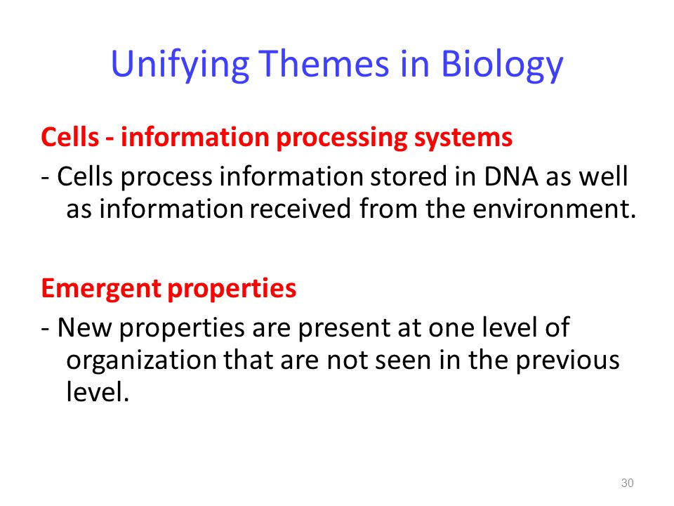 Unifying Themes in Biology Cells - information processing systems - Cells process information stored in DNA as well as information received from the environment.