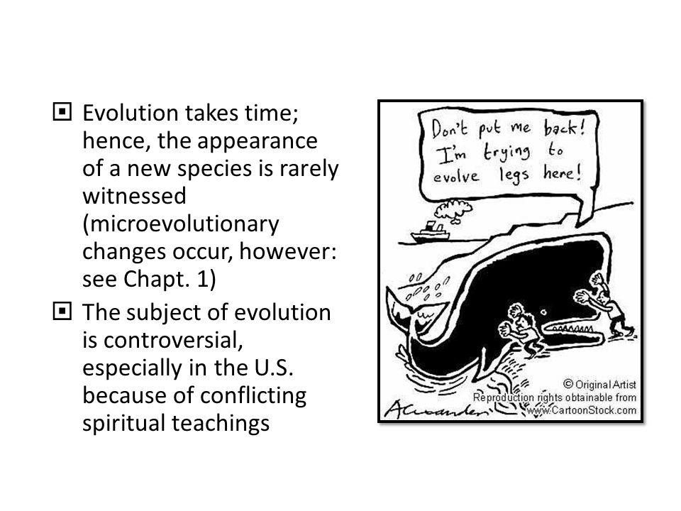  Evolution takes time; hence, the appearance of a new species is rarely witnessed (microevolutionary changes occur, however: see Chapt.