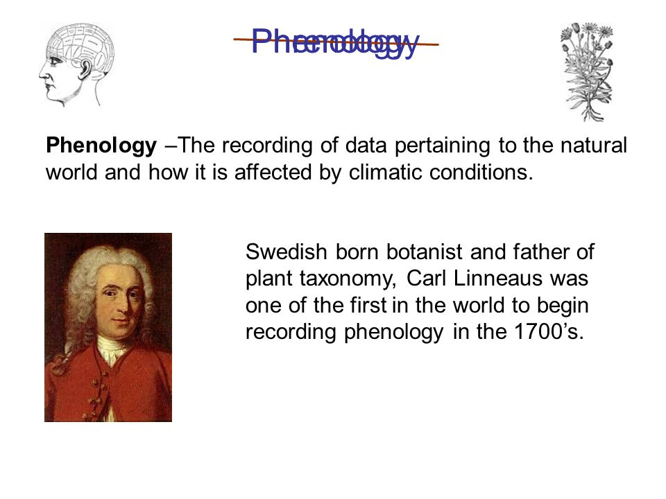 Phenology –The recording of data pertaining to the natural world and how it is affected by climatic conditions.