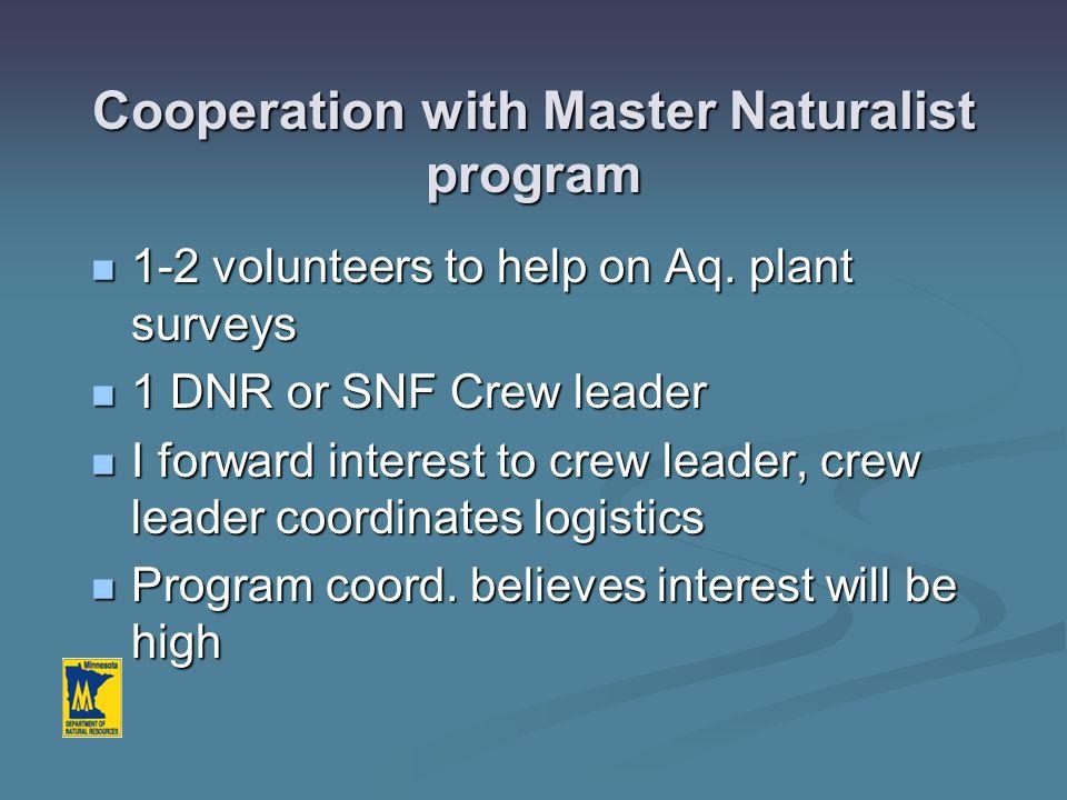 Cooperation with Master Naturalist program 1-2 volunteers to help on Aq. plant surveys 1-2 volunteers to help on Aq. plant surveys 1 DNR or SNF Crew l