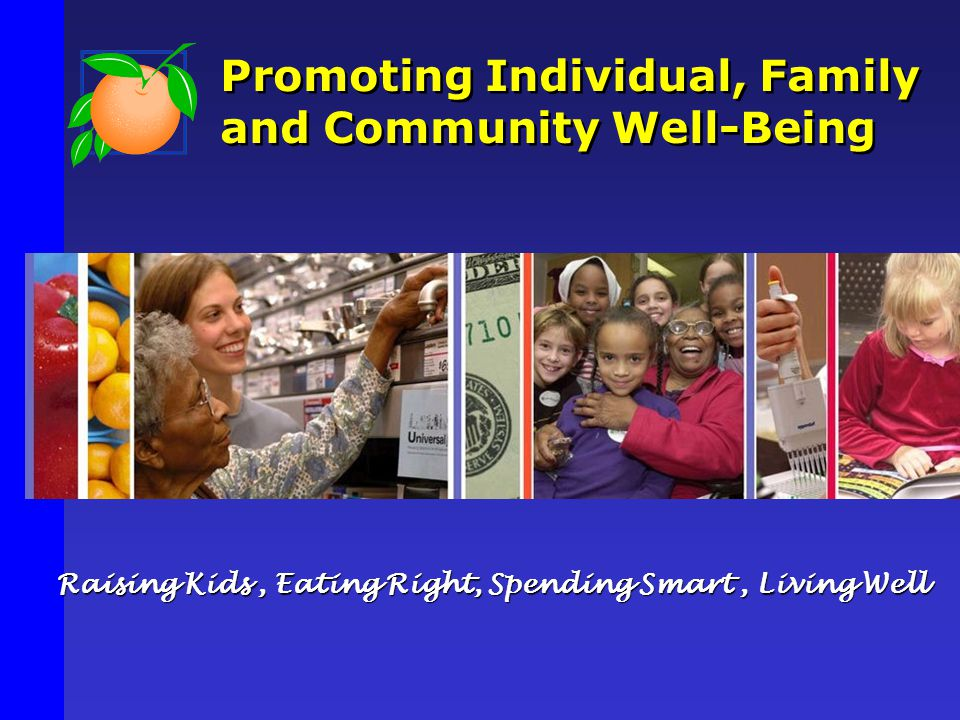 Promoting Individual, Family and Community Well-Being Raising Kids, Eating Right, Spending Smart, Living Well