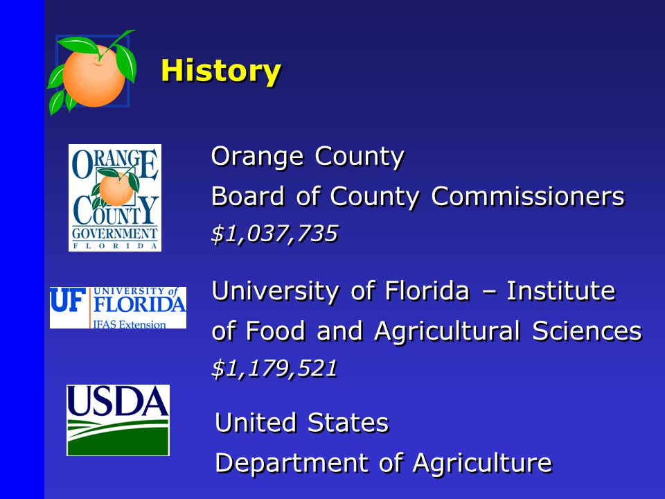 History United States Department of Agriculture Orange County Board of County Commissioners $1,037,735 Orange County Board of County Commissioners $1,037,735 University of Florida – Institute of Food and Agricultural Sciences $1,179,521 University of Florida – Institute of Food and Agricultural Sciences $1,179,521