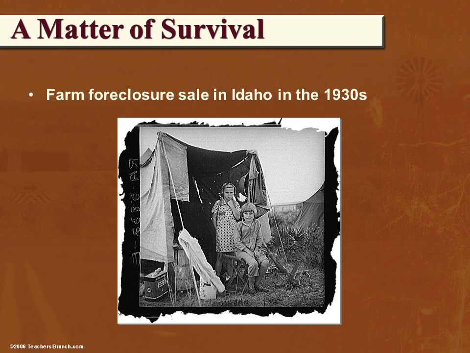 Farm foreclosure sale in Idaho in the 1930s A Matter of Survival