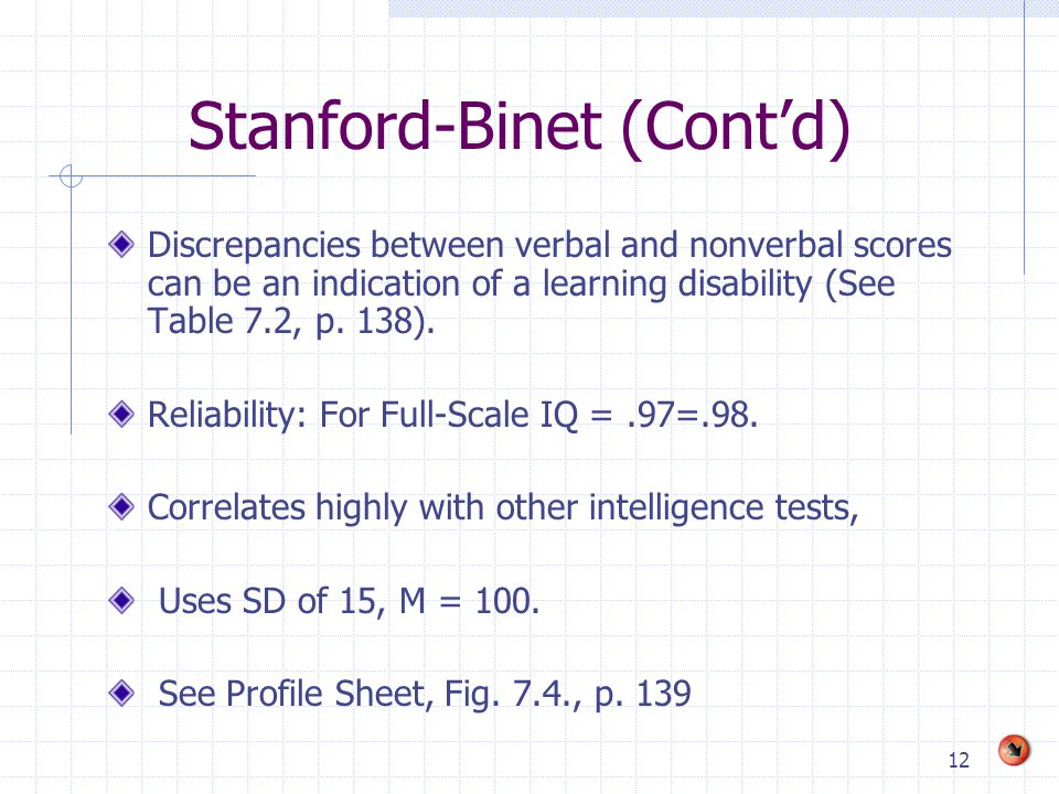 12 Stanford-Binet (Cont'd) Discrepancies between verbal and nonverbal scores can be an indication of a learning disability (See Table 7.2, p.