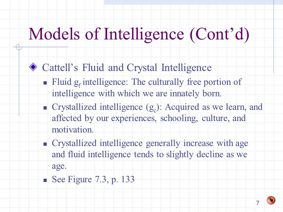 7 Models of Intelligence (Cont'd) Cattell's Fluid and Crystal Intelligence Fluid g f intelligence: The culturally free portion of intelligence with which we are innately born.