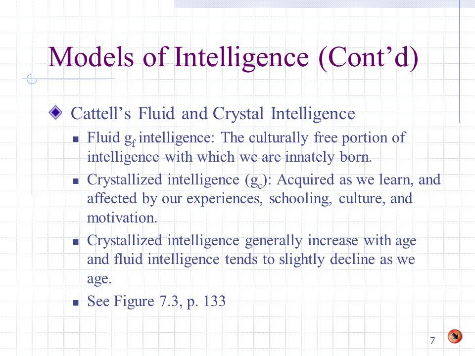 8 Models of Intelligence (Cont'd) Piaget's Cognitive Development Theory Developmental model.