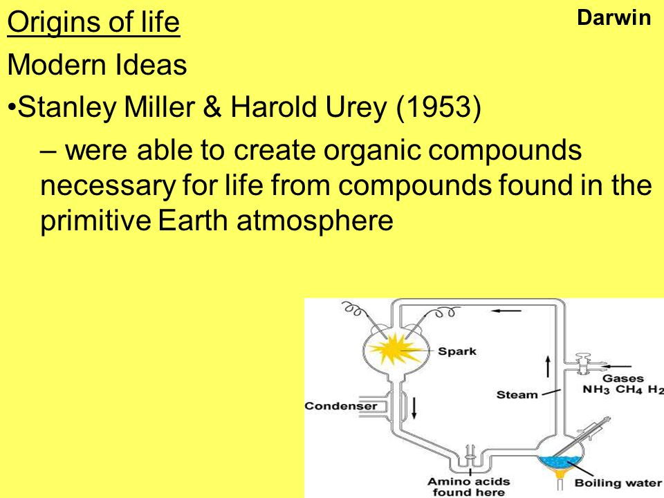 Darwin Origins of life Modern Ideas Stanley Miller & Harold Urey (1953) – were able to create organic compounds necessary for life from compounds found in the primitive Earth atmosphere