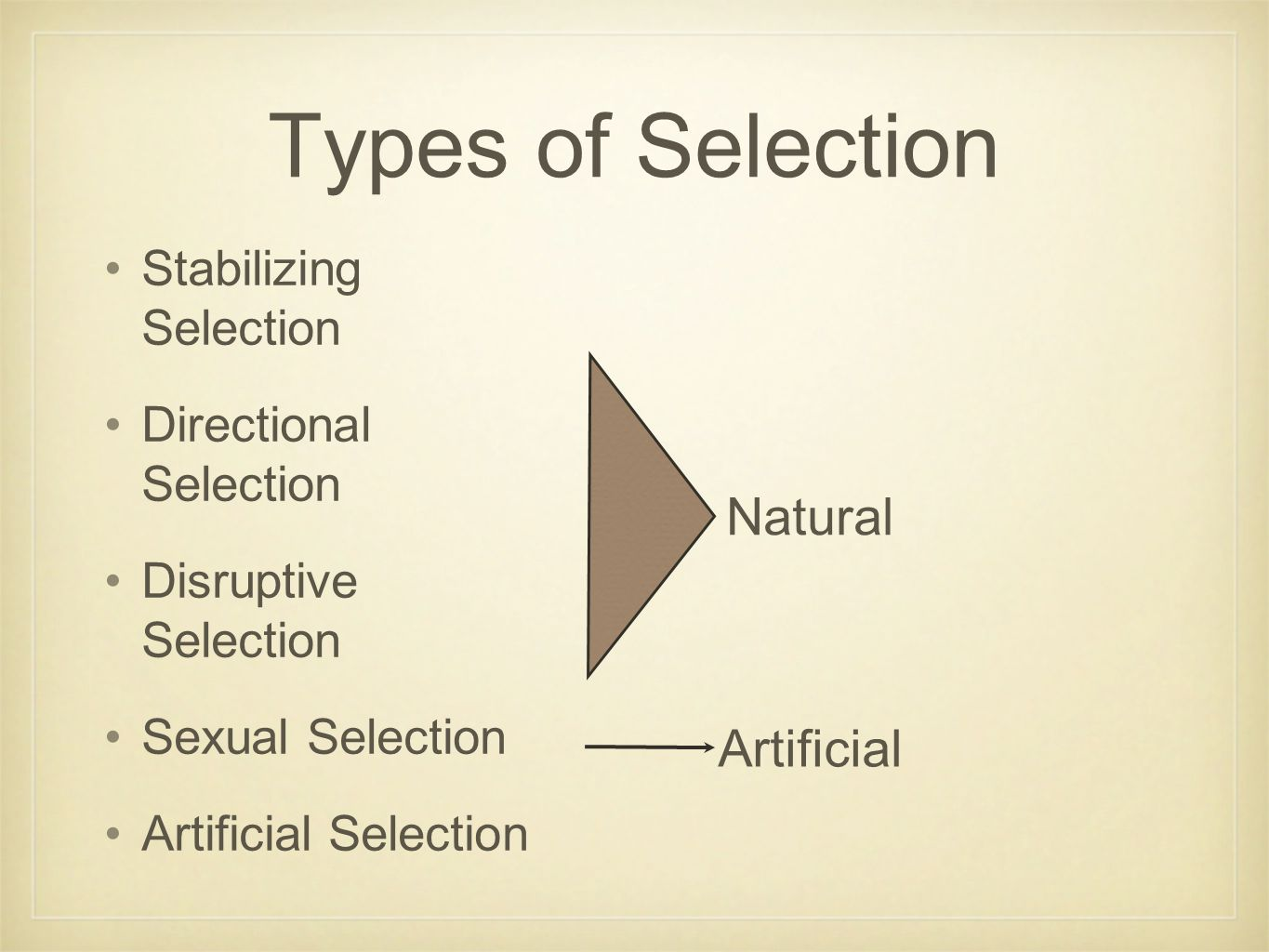 Types of Selection Stabilizing Selection Directional Selection Disruptive Selection Sexual Selection Artificial Selection Natural Artificial