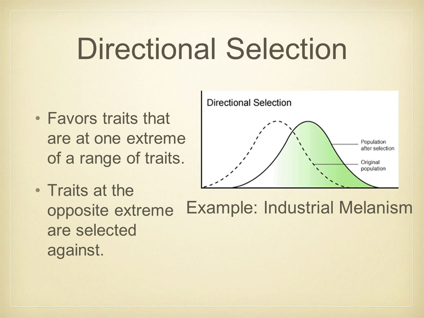 Directional Selection Favors traits that are at one extreme of a range of traits.