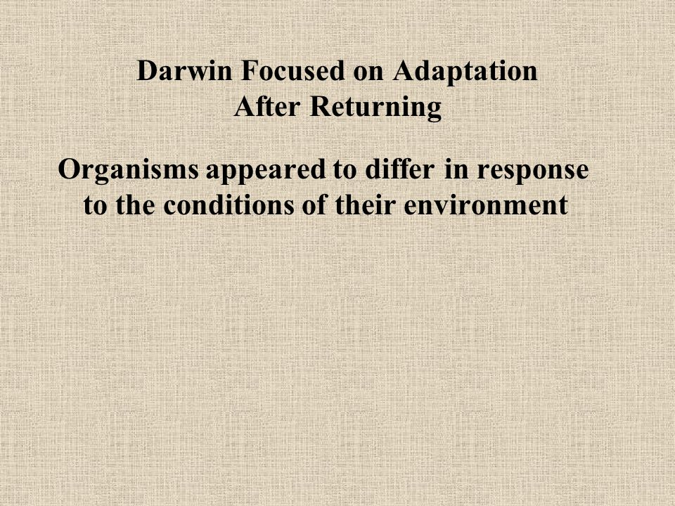Darwin Focused on Adaptation After Returning Organisms appeared to differ in response to the conditions of their environment