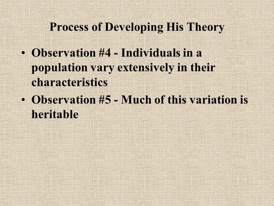 Process of Developing His Theory Observation #4 - Individuals in a population vary extensively in their characteristics Observation #5 - Much of this variation is heritable