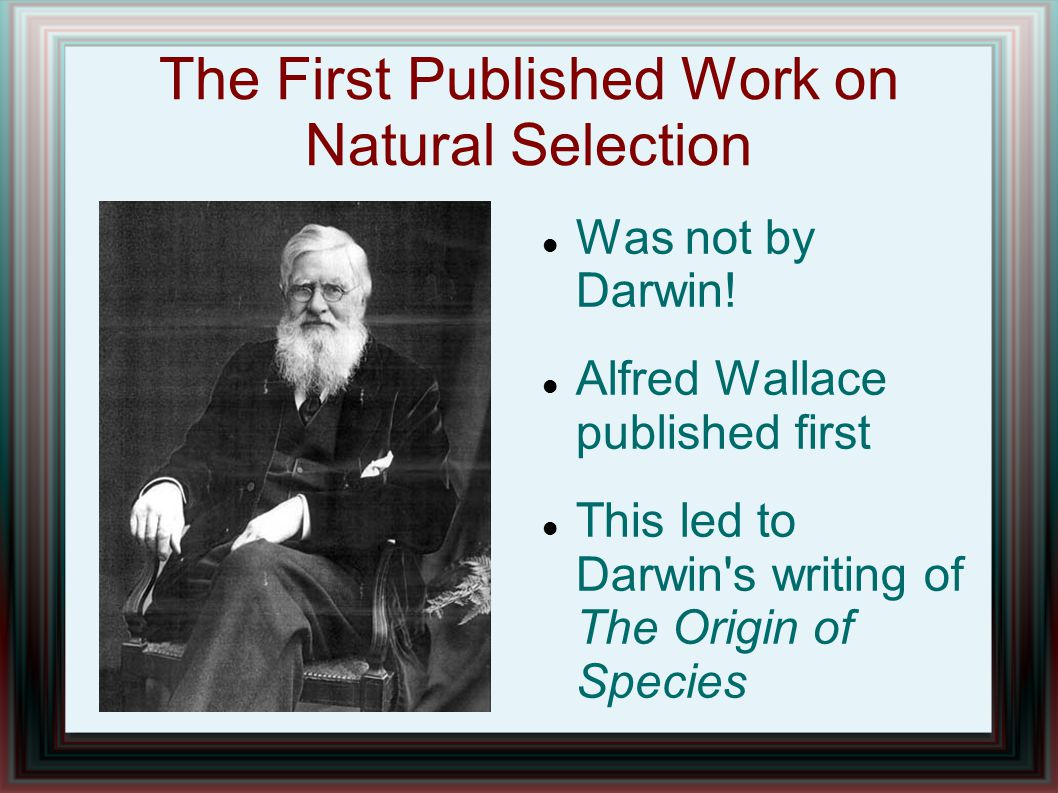 The First Published Work on Natural Selection Was not by Darwin! Alfred Wallace published first This led to Darwin's writing of The Origin of Species