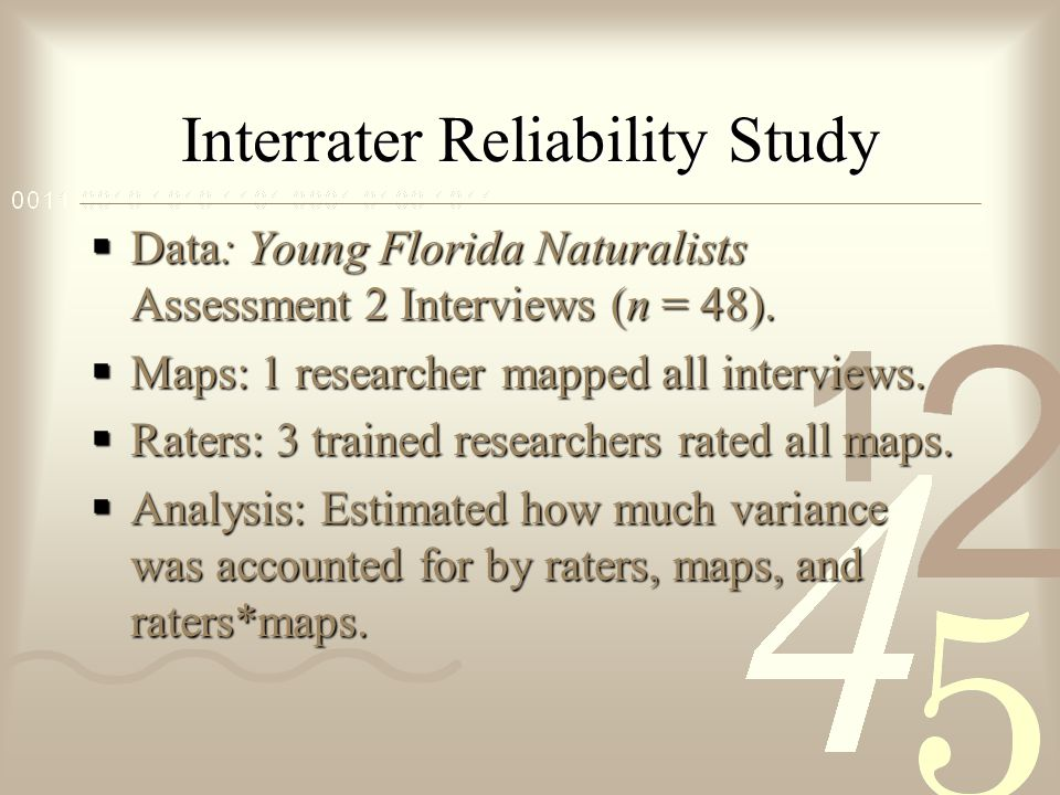 Interrater Reliability Study  Data: Young Florida Naturalists Assessment 2 Interviews (n = 48).
