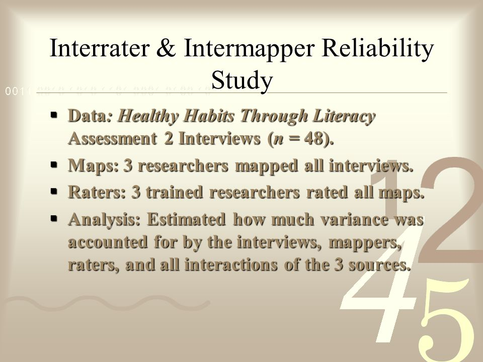 Interrater & Intermapper Reliability Study  Data: Healthy Habits Through Literacy Assessment 2 Interviews (n = 48).