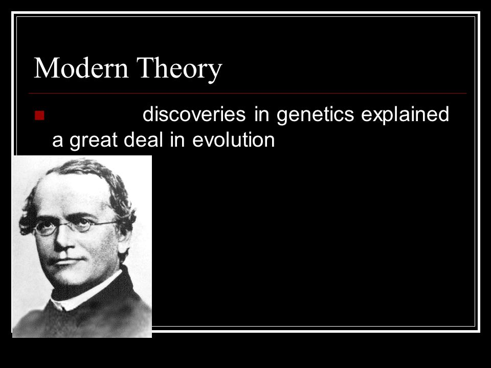 Modern Theory Mendel's discoveries in genetics explained a great deal in evolution