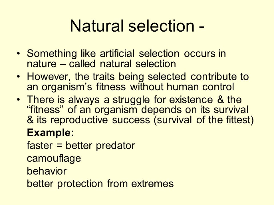 Natural selection - Something like artificial selection occurs in nature – called natural selection However, the traits being selected contribute to a