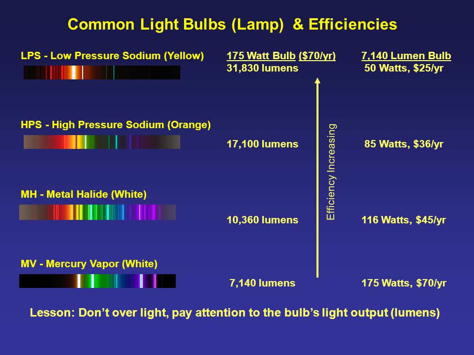 Common Light Bulbs (Lamp) & Efficiencies LPS - Low Pressure Sodium (Yellow) MV - Mercury Vapor (White) MH - Metal Halide (White) HPS - High Pressure Sodium (Orange) 175 Watt Bulb ($70/yr) 31,830 lumens 17,100 lumens 10,360 lumens 7,140 lumens 7,140 Lumen Bulb 50 Watts, $25/yr 85 Watts, $36/yr 116 Watts, $45/yr 175 Watts, $70/yr Efficiency Increasing Lesson: Don't over light, pay attention to the bulb's light output (lumens)