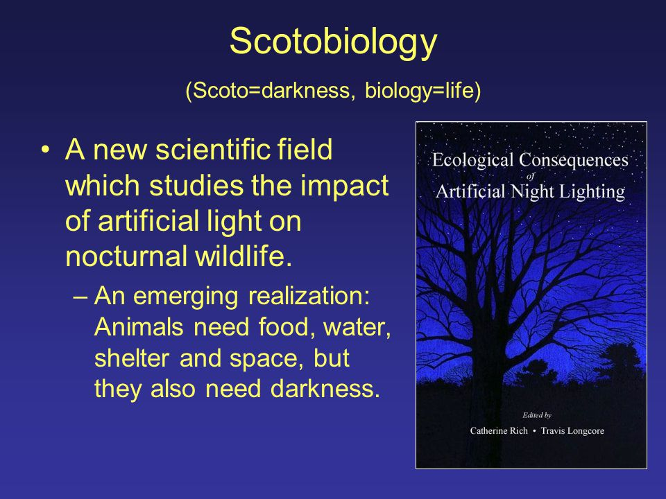 Scotobiology (Scoto=darkness, biology=life) A new scientific field which studies the impact of artificial light on nocturnal wildlife.