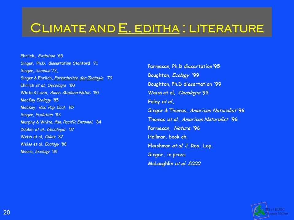 20 CIS oƒ HDGC Carnegie Mellon Climate and E.