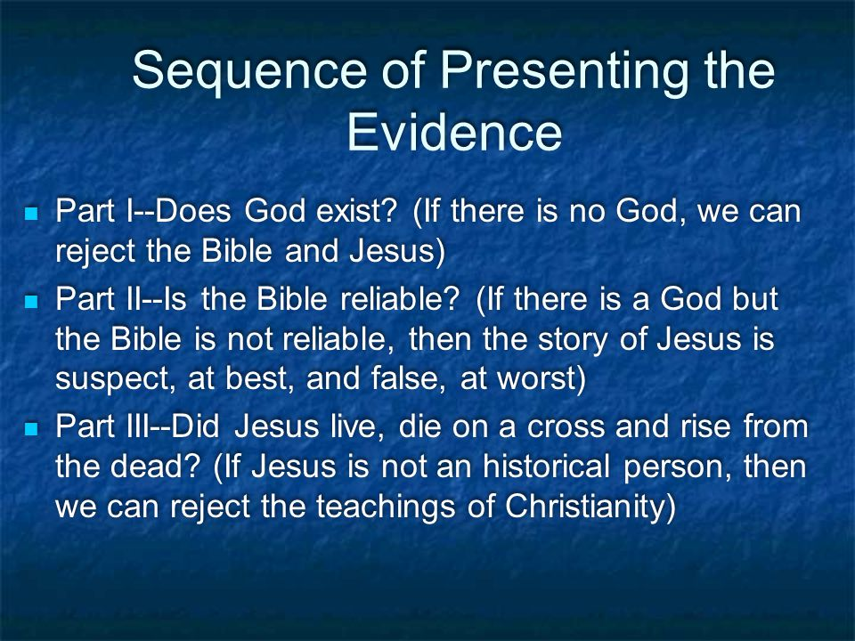 Sequence of Presenting the Evidence Part I--Does God exist.