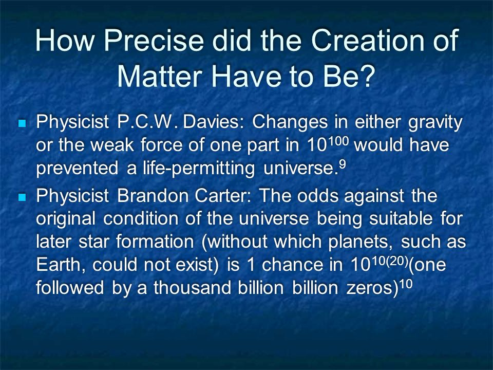 How Precise did the Creation of Matter Have to Be.