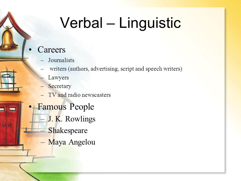 Verbal – Linguistic Careers –Journalists – writers (authors, advertising, script and speech writers) –Lawyers –Secretary –TV and radio newscasters Fam