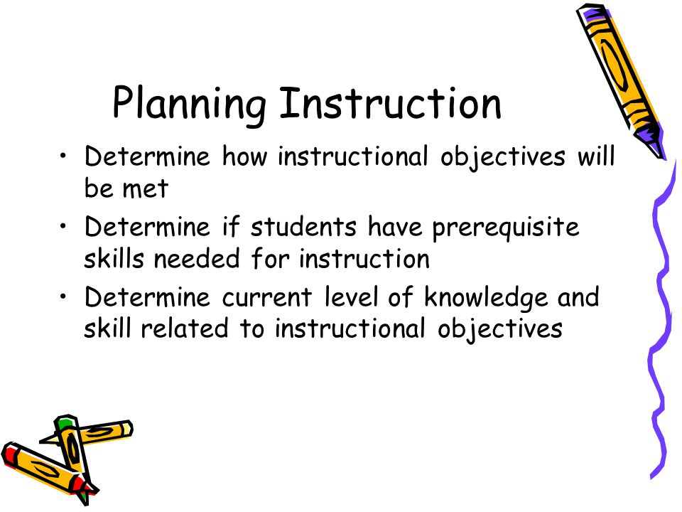 Planning Instruction Determine how instructional objectives will be met Determine if students have prerequisite skills needed for instruction Determine current level of knowledge and skill related to instructional objectives