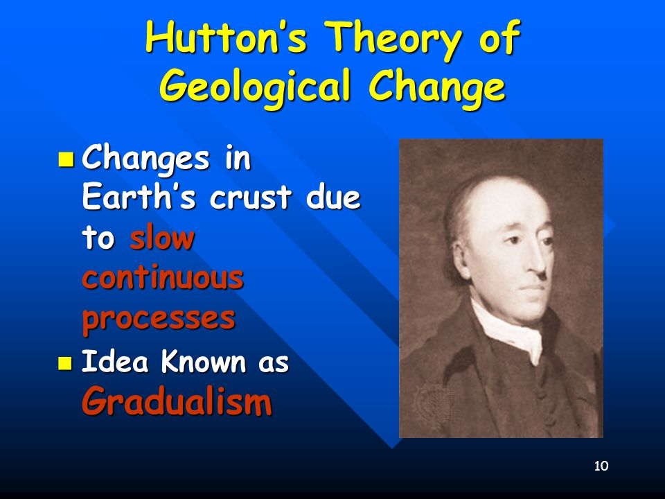 10 Hutton's Theory of Geological Change Changes in Earth's crust due to slow continuous processes Changes in Earth's crust due to slow continuous proc