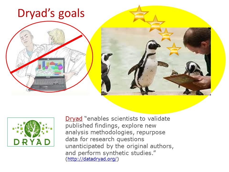 Dryad's goals Dryad enables scientists to validate published findings, explore new analysis methodologies, repurpose data for research questions unanticipated by the original authors, and perform synthetic studies. (http://datadryad.org/)http://datadryad.org/