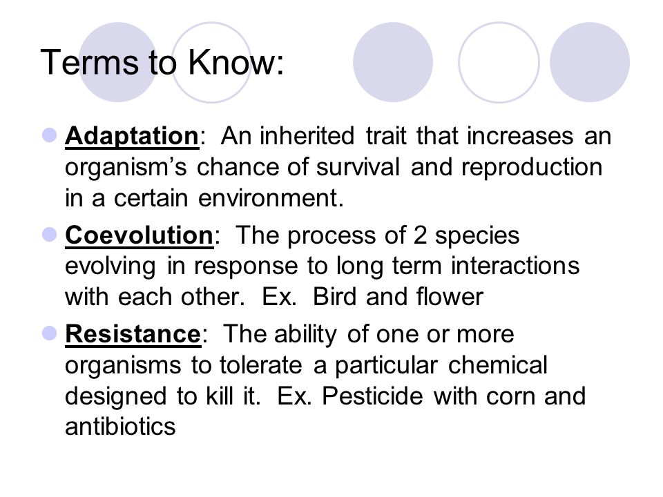 Terms to Know: Adaptation: An inherited trait that increases an organism's chance of survival and reproduction in a certain environment. Coevolution: