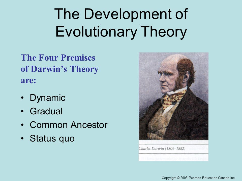 Copyright © 2005 Pearson Education Canada Inc. The Development of Evolutionary Theory Dynamic Gradual Common Ancestor Status quo The Four Premises of