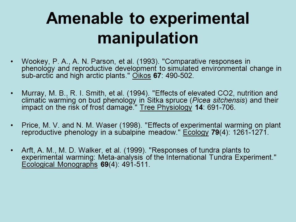Amenable to experimental manipulation Wookey, P. A., A. N. Parson, et al. (1993).