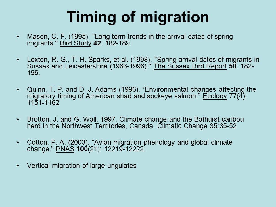 Timing of migration Mason, C. F. (1995).