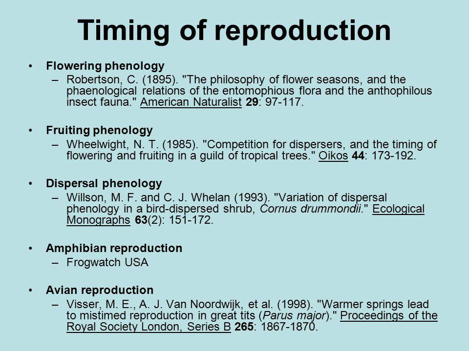 Timing of reproduction, con't.Mammalian reproduction –Réale, D., A.