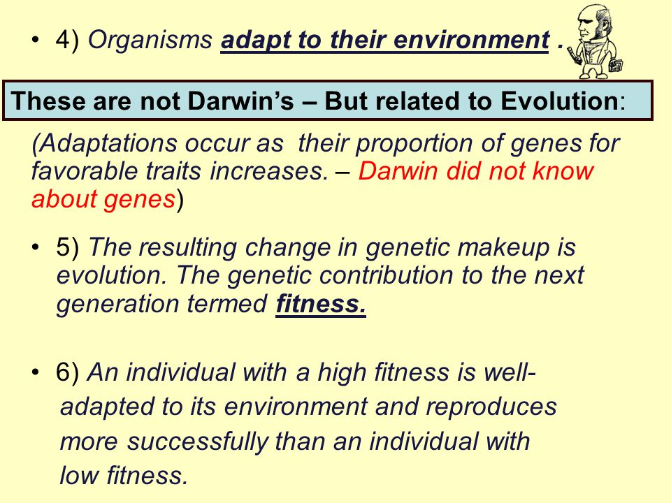 4) Organisms adapt to their environment. (Adaptations occur as their proportion of genes for favorable traits increases. – Darwin did not know about g