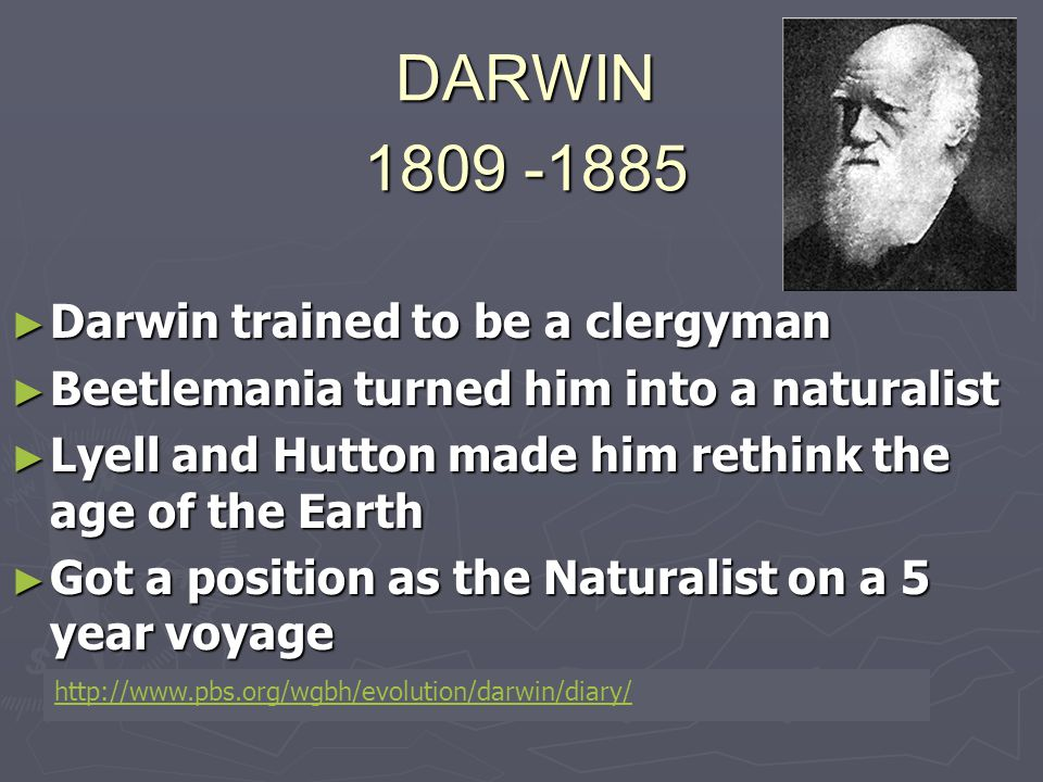 DARWIN 1809 -1885 ► Darwin trained to be a clergyman ► Beetlemania turned him into a naturalist ► Lyell and Hutton made him rethink the age of the Ear