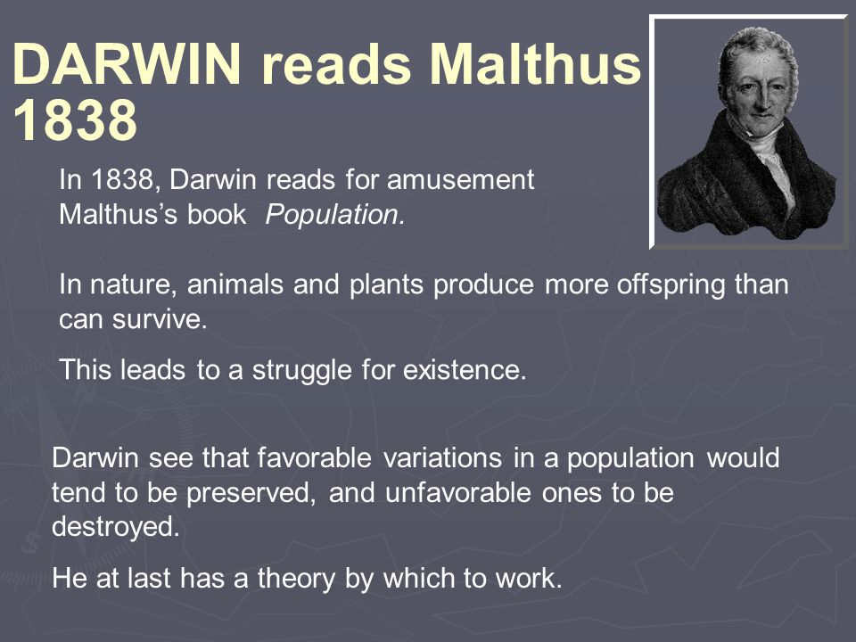 In nature, animals and plants produce more offspring than can survive. This leads to a struggle for existence. DARWIN reads Malthus 1838 In 1838, Darw
