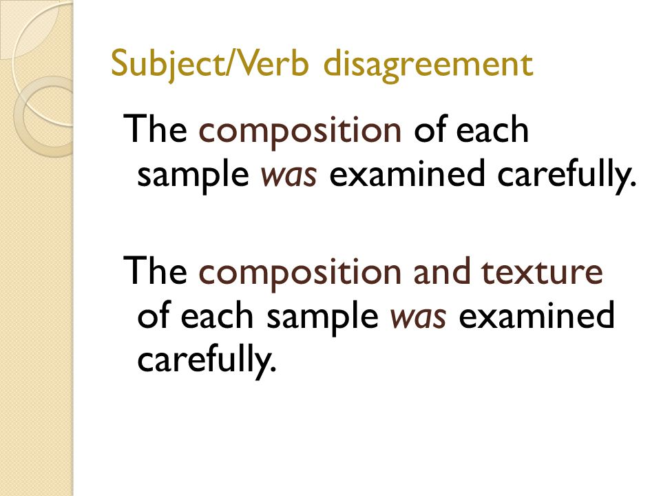 Subject/Verb disagreement The composition of each sample was examined carefully.