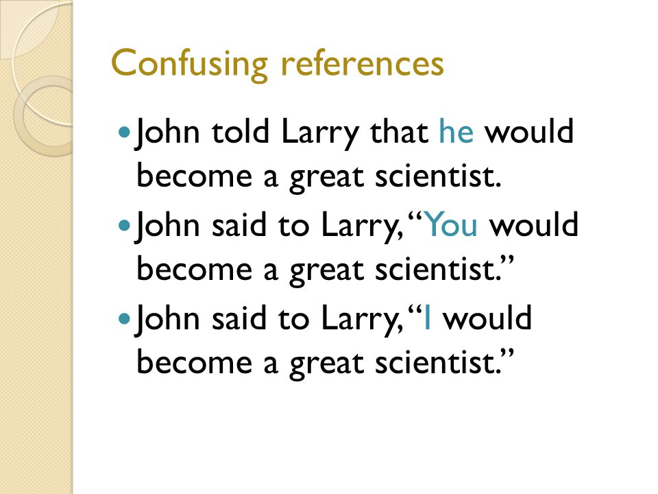 Confusing references John told Larry that he would become a great scientist.