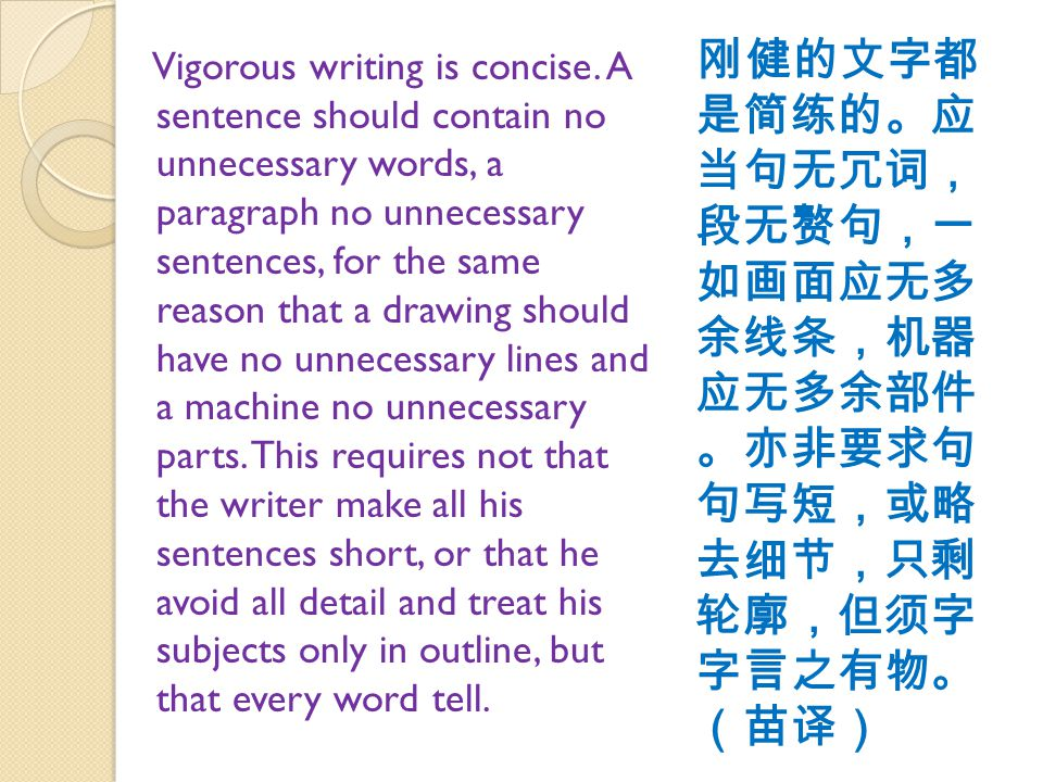 Vigorous writing is concise.