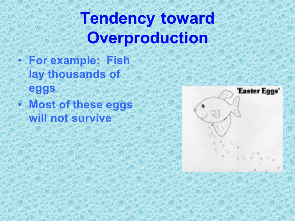 Tendency toward Overproduction For example: Fish lay thousands of eggs Most of these eggs will not survive