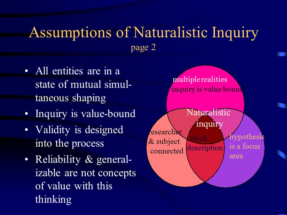 Assumptions of Naturalistic Inquiry page 2 All entities are in a state of mutual simul- taneous shaping Inquiry is value-bound Validity is designed in