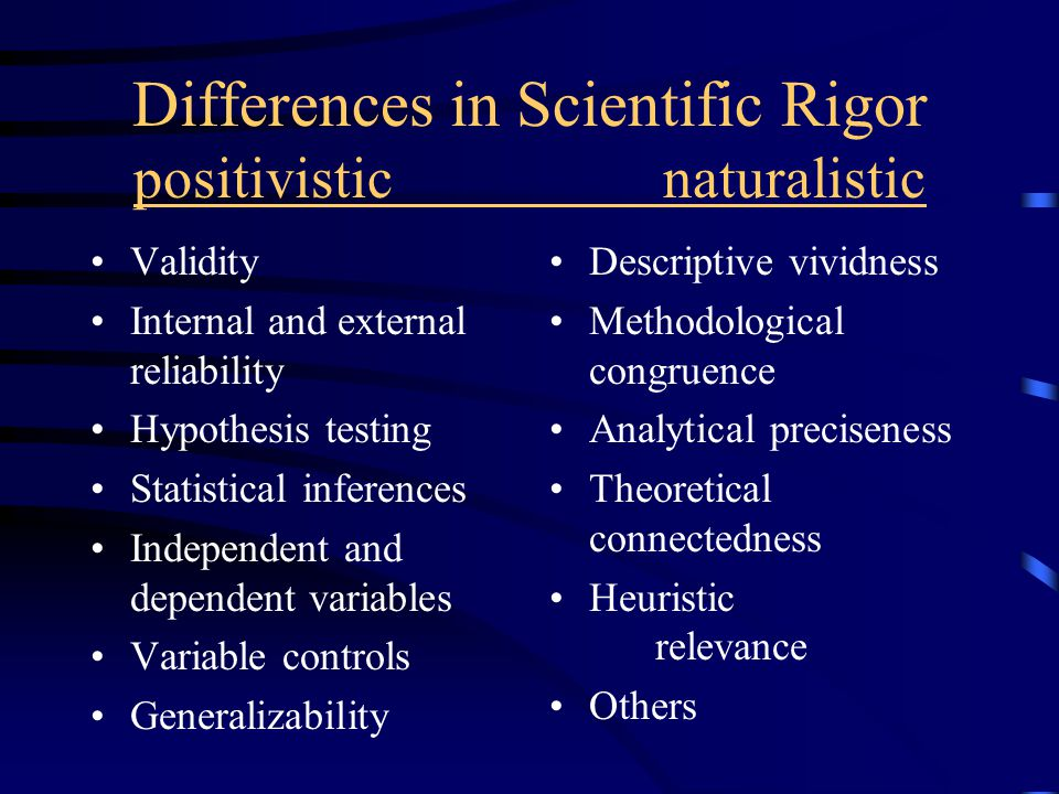 Differences in Scientific Rigor positivisticnaturalistic Validity Internal and external reliability Hypothesis testing Statistical inferences Independent and dependent variables Variable controls Generalizability Descriptive vividness Methodological congruence Analytical preciseness Theoretical connectedness Heuristic relevance Others