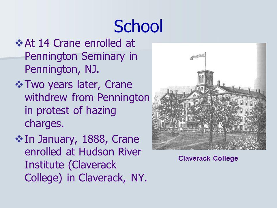 School  At 14 Crane enrolled at Pennington Seminary in Pennington, NJ.