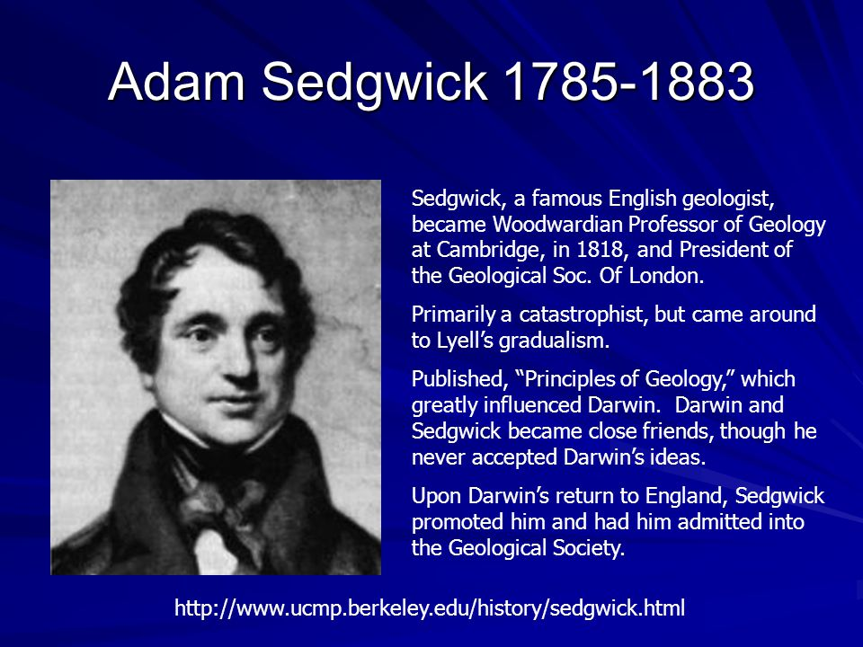 Adam Sedgwick 1785-1883 Sedgwick, a famous English geologist, became Woodwardian Professor of Geology at Cambridge, in 1818, and President of the Geological Soc.