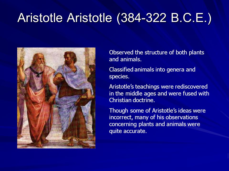 Aristotle Aristotle (384-322 B.C.E.) Observed the structure of both plants and animals. Classified animals into genera and species. Aristotle's teachi