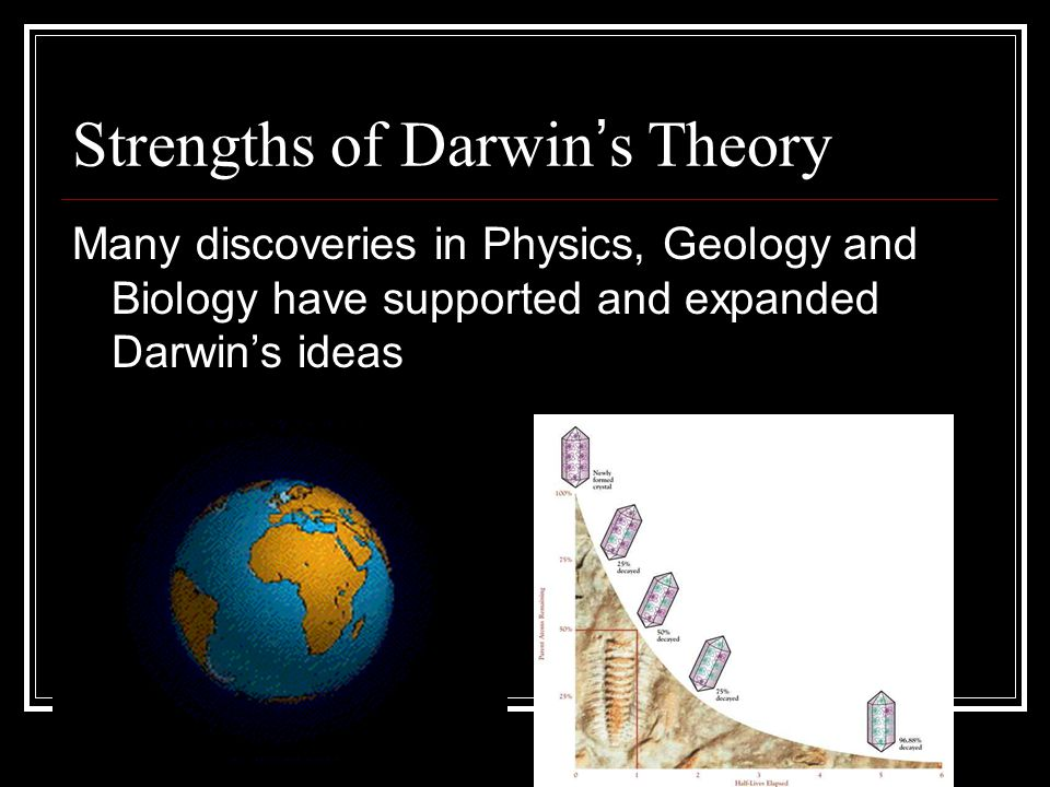 Strengths of Darwin ' s Theory Many discoveries in Physics, Geology and Biology have supported and expanded Darwin's ideas